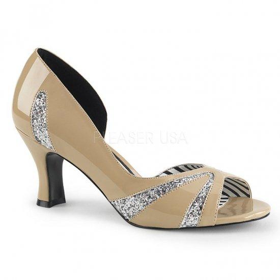 取寄せ靴 新品 キラキラ ラメ 片側サイドオープン オープントゥ パンプス 7.5cmキトゥンヒール クリーム エナメル 銀 シルバー グリッター 大きいサイズ…