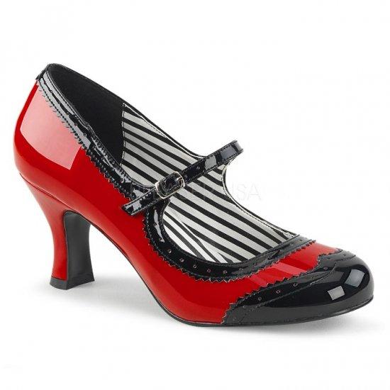 取寄せ靴 新品 甲ベルト バイカラー パンプス 7.5cmキトゥンヒール 赤 レッド 黒 ブラック エナメル 大きいサイズ…