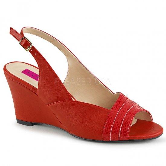 取寄せ靴 新品 スリングバック ウェッジ サンダル 7.5cmヒール 赤 レッド フェイクレザー 大きいサイズあり