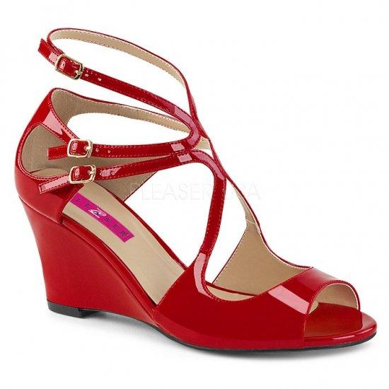 取寄せ靴 新品 ベルト付き ストラップ ウェッジ サンダル 7.5cmヒール 赤 レッド エナメル 大きいサイズ…