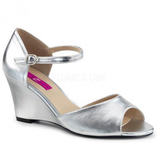 取寄せ靴 新品 ベルト付き アンクルストラップ ウェッジ サンダル 7.5cmヒール 銀 シルバー フェイクレザー 大きいサイズ…