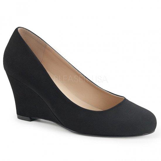 取寄せ靴 新品 ウェッジ パンプス 7.5cmヒール 黒 ブラック ヌバック スエード 大きいサイズあり