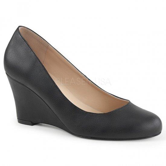 取寄せ靴 新品 ウェッジ パンプス 7.5cmヒール 黒 ブラック フェイクレザー 大きいサイズあり