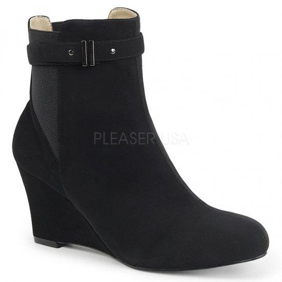 取寄せ靴 送料無料 ベルト付き ウェッジソール アンクル ブーツ 7.5cmヒール 黒 ブラック ヌバック スエード 大きいサイズ…