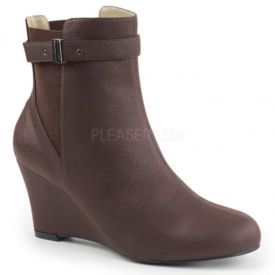 取寄せ靴 送料無料 ベルト付き ウェッジソール アンクル ブーツ 7.5cmヒール 茶 ブラウン フェイクレザー 大きいサイズ…