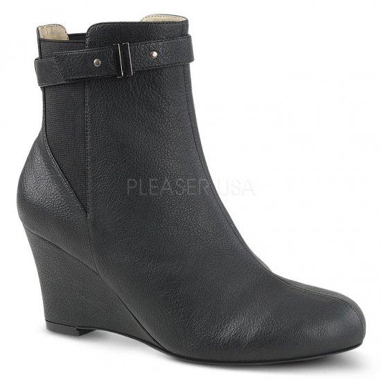 取寄せ靴 送料無料 ベルト付き ウェッジソール アンクル ブーツ 7.5cmヒール 黒 ブラック フェイクレザー 大きいサイズ…