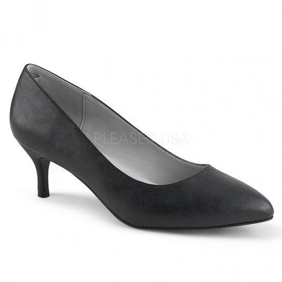 取寄せ靴 新品 ポインテッドトゥ パンプス 6.5cmキトゥンヒール 黒 ブラック フェイクレザー 大きいサイズ…