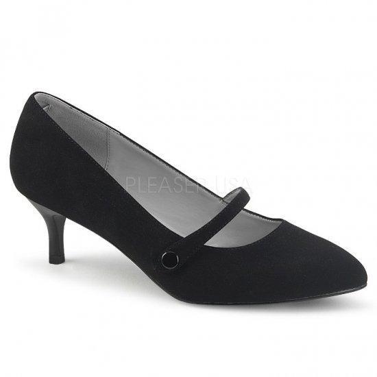 取寄せ靴 新品 甲ベルト付き ポインテッドトゥ パンプス 6.5cmキトゥンヒール 黒 ブラック ヌバック 大きいサイズ…