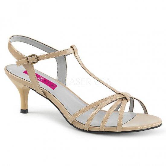 取寄せ靴 新品 ベルト付き Tストラップ サンダル 6.5cmキトゥンヒール クリーム エナメル 大きいサイズあり