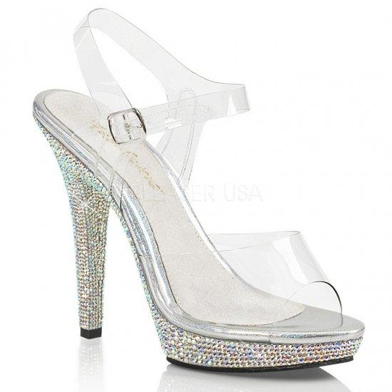 取寄せ靴 送料無料 キラキラ ラインストーン ベルト付き 厚底サンダル 12.5cmヒール クリア 銀 シルバー 大きいサイズ…