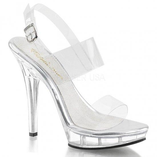 取寄せ靴 新品 スリングバック ダブルストラップ 薄厚底サンダル 12.5cmピンヒール クリア 大きいサイズ…