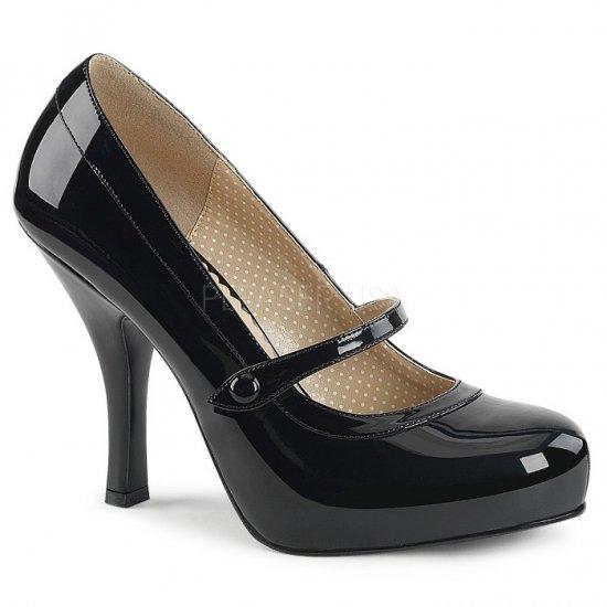 取寄せ靴 新品 甲ベルト 厚底 パンプス 11.5cmヒール 黒 ブラック エナメル 大きいサイズあり