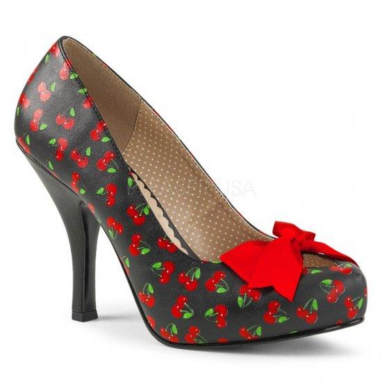取寄せ靴 送料無料 かわいいさくらんぼ柄 厚底 パンプス 11.5cmヒール 黒 ブラック 赤 レッド フェイクレザー 大きいサイズ…