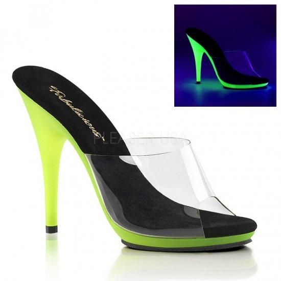 取寄せ靴 新品 ブラックライトに浮かぶ蛍光色 薄厚底 ミュール サンダル 12.5cmピンヒール クリア ネオンライム 大きいサイズ…