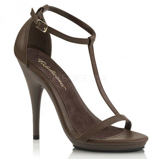取寄せ靴 新品 Tストラップ 薄厚底 サンダル 12.5cmピンヒール 茶 ブラウン つや消し 大きいサイズあり