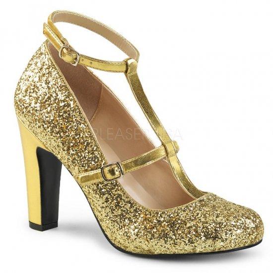 取寄せ靴 新品 キラキララメ アンクルベルト ラウンドトゥ パンプス 10cmヒール 金 ゴールド グリッター 大きいサイズ…