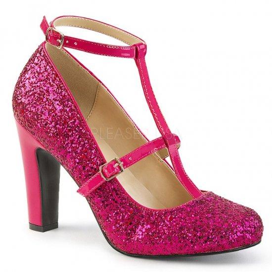取寄せ靴 新品 キラキララメ アンクルベルト ラウンドトゥ パンプス 10cmヒール ホットピンク グリッター 大きいサイズ…