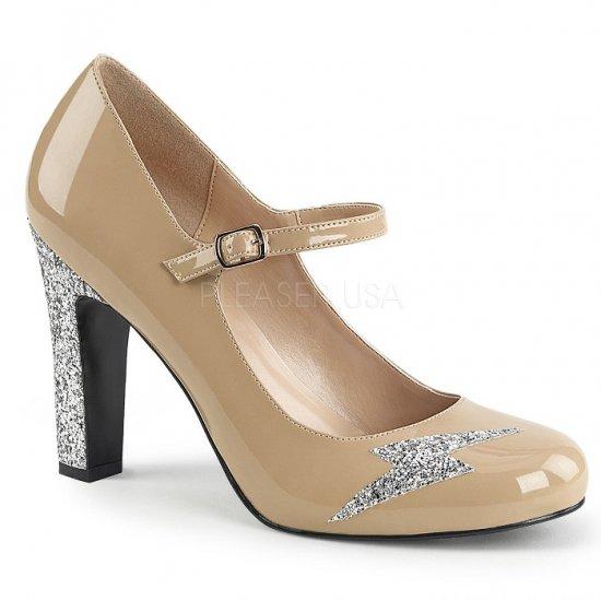 取寄せ靴 新品 キラキララメ 甲ベルト ラウンドトゥ パンプス 10cmヒール クリーム エナメル 銀 シルバー グリッター 大きいサイズ…