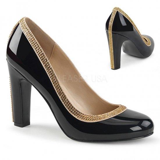 取寄せ靴 送料無料 キラキラ ラインストーン ラウンドトゥ ビジュー パンプス 10cmヒール 黒 ブラック エナメル 大きいサイズ…