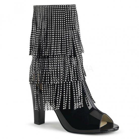 取寄せ靴 送料無料 キラキラ ラインストーン付きフリンジ オープントゥ アンクル ブーツ 10cmヒール ジッパー付き 黒 ブラック エナメル 大きいサイズ…