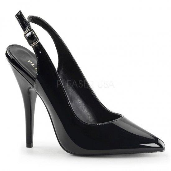 取寄せ靴 ポインテッドトゥ スリングバック ハイヒールパンプス 12.5cmヒール 黒 ブラック エナメル Pleaserプリーザー 大きいサイズ…