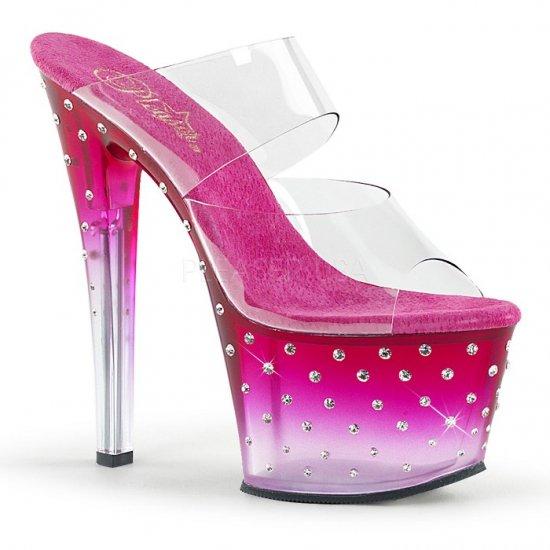 取寄せ靴 送料無料 新品 ヒール ソールにきらきらラインストーン ダブルストラップ 厚底サンダル 17.5cmヒール クリア ホットピンク 大きいサイズ…