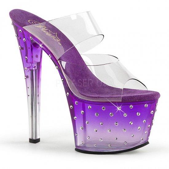 取寄せ靴 送料無料 新品 ヒール ソールにきらきらラインストーン ダブルストラップ 厚底サンダル 17.5cmヒール クリア 紫 パープル 大きいサイズ…