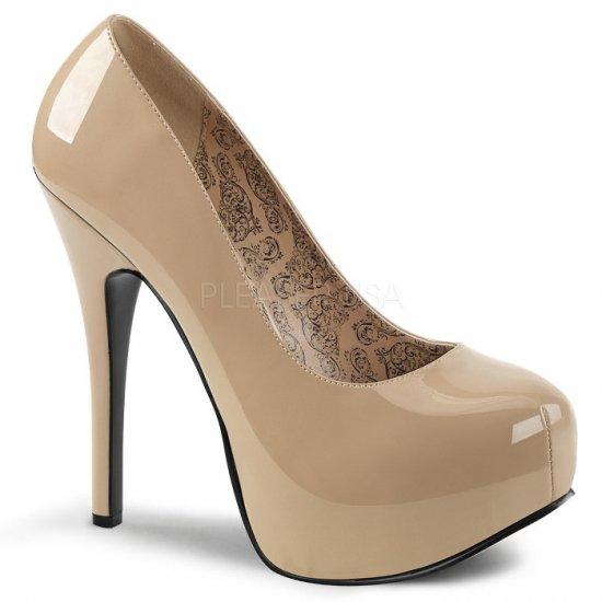 取寄せ靴 送料無料 新品 綺麗なフォルム 厚底パンプス 14.5cmヒール クリーム エナメル 大きいサイズあり