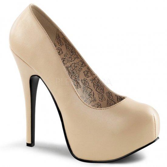 取寄せ靴 送料無料 新品 綺麗なフォルム 厚底パンプス 14.5cmヒール クリーム フェイクレザー 大きいサイズ…