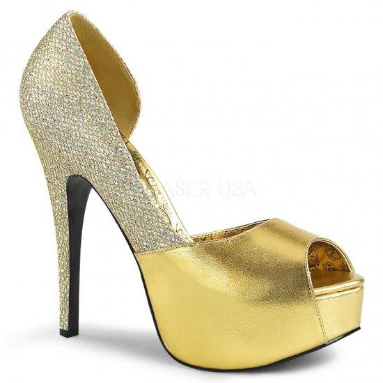 取寄せ靴 送料無料 キラキラ ラメ ピープトゥ 片側サイドオープン 厚底パンプス 14.5cmヒール 金 ゴールド つや消し マルチ グリッター 大きいサイズ…