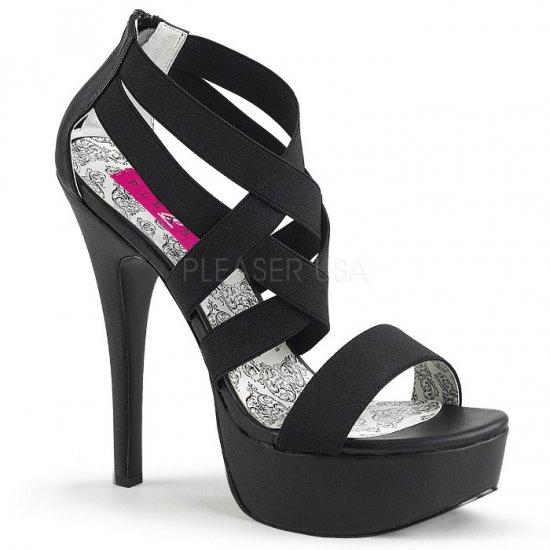 取寄せ靴 送料無料 クロスストラップ ジッパー付き 厚底 サンダル 14.5cmヒール 黒 ブラック 大きいサイズ…
