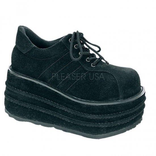 取寄せ靴 新品 厚底 シューズ 厚底9cm 黒 ブラック ビーガン スエード Demonia デモニア 大きいサイズあり
