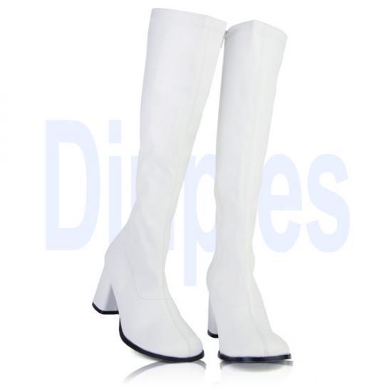 即納靴 新品 コスプレイヤーにも大人気 薄厚底ロングブーツ サイドジッパー付き 8cmチャンキーヒール 白ホワイトつや消し FUNTAZMAファンタズマ 大きいサイズあり