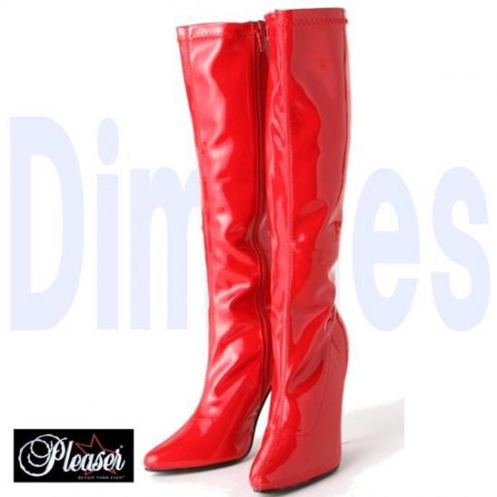 取寄せ靴 新品 コスプレ系 ポインテッドトゥ ストレッチハイヒールロングブーツ サイドジッパー付き 12.5cmピンヒール 赤レッドエナメル Pleaserプリーザー 大きいサイズあり