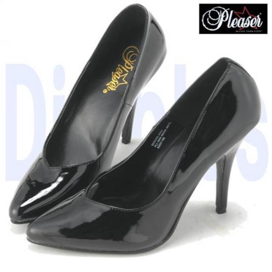 即納靴 新品 ポインテッドトゥ美脚ハイヒールパンプス 12.5cmピンヒール 黒ブラックエナメル Pleaserプリーザー 大きいサイズ…