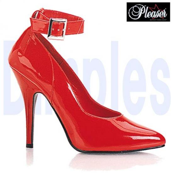 即納靴 新品 アンクルベルト付き ポインテッドトゥ美脚ハイヒールパンプス 12.5cmピンヒール 赤レッドエナメル Pleaserプリーザー 大きいサイズ…