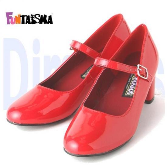 即納靴 新品 甲ベルト付き ポインテッドトゥ美脚ハイヒールパンプス 5.5cmヒール 赤レッドエナメル FUNTASMAファンタズマ 大きいサイズ…