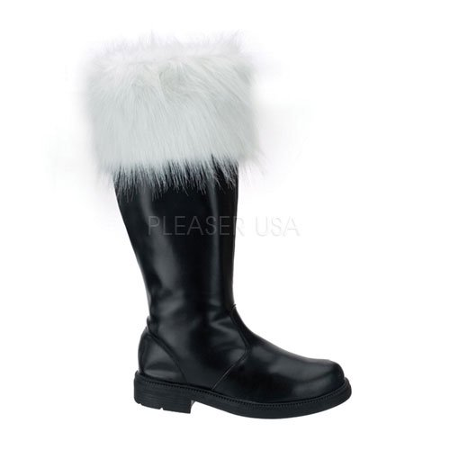 Black with White Fur Boots