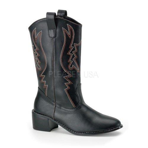 取寄せ靴 送料無料 激安 メンズ ウエスタンハイヒールショートブーツ 5cmヒール 黒 ブラック つや消し