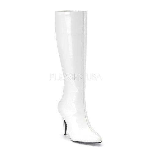 取寄せ靴 新品 ポインテッドトゥ ストレッチハイヒールロングブーツ サイドジッパー付き 9.5cmピンヒール 白ホワイトエナメル FUNTAZMAファンタズマ 大きいサイズ…