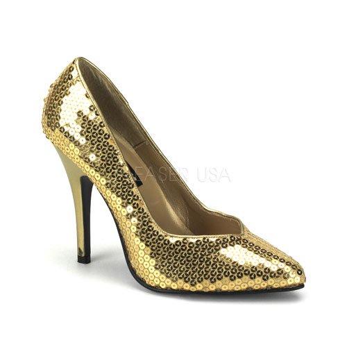 取寄せ靴 ポインテッドトゥ きらきらハイヒールパンプス 12.5cmピンヒール 金ゴールドスパンコール Pleaserプリーザー 大きいサイズ…