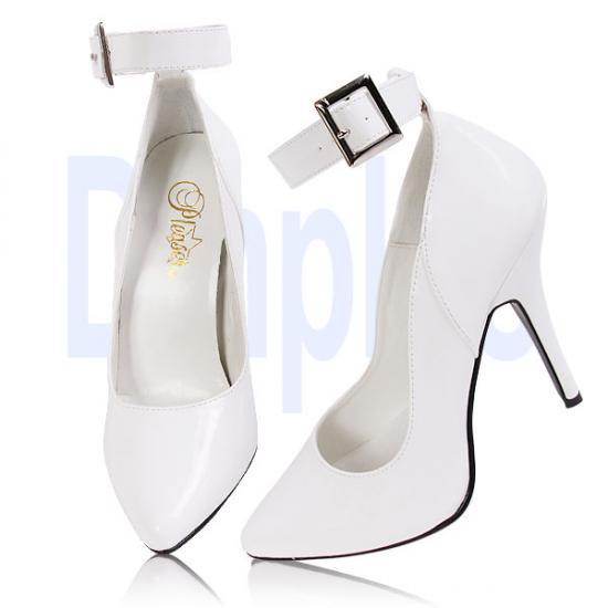 取寄せ靴 新品 アンクルベルト付き ポインテッドトゥ美脚ハイヒールパンプス 12.5cmピンヒール 白ホワイトエナメル Pleaserプリーザー 大きいサイズ…