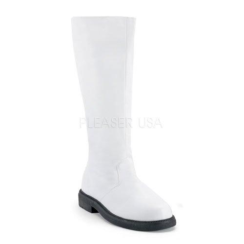 即納靴 新品 コスプレ系 メンズに大人気 ワイドな筒周り プラスサイズ 薄厚底ロングブーツ サイドジッパー付き 2.5cmヒール 白ホワイトつや消し FUNTAZMAファンタズマ 大きいサイズ…