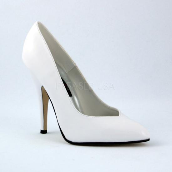 即納靴 新品 ポインテッドトゥ美脚ハイヒールパンプス 12.5cmピンヒール 白ホワイトエナメル Pleaserプリーザー 大きいサイズあり