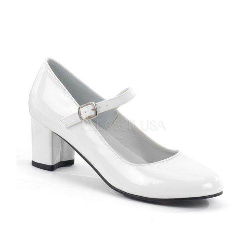 即納靴 新品 甲ベルト付き ポインテッドトゥ美脚ハイヒールパンプス 5.5cmヒール 白ホワイトエナメル FUNTASMAファンタズマ 大きいサイズ…