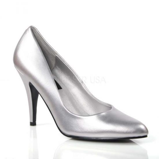 即納靴 新品 人気の定番 ポインテッドトゥ美脚ハイヒールパンプス 10cmピンヒール 銀シルバーつや消し Pleaserプリーザー 大きいサイズ…
