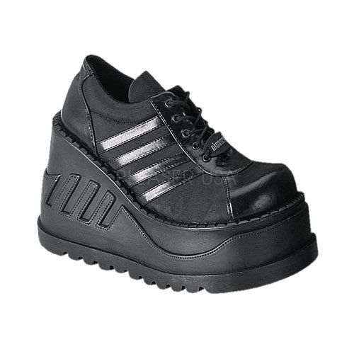 取寄せ靴 新品 パンクロック系 厚底スニーカー 厚底12cm 黒ブラックつや消し Demoniaデモニア 大きいサイズ…