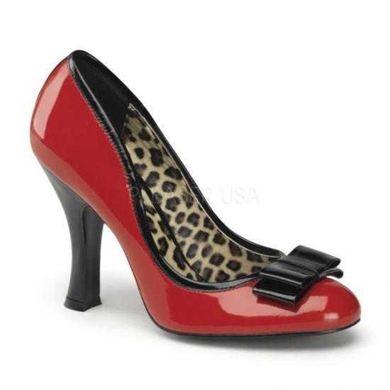取寄せ靴 新品 中敷きがアニマル柄 ハイヒールパンプス 10cmヒール バイカラー 赤レッド黒ブラックエナメル PINUP COUTURE by Pleaserプリーザー 大きいサイズ…