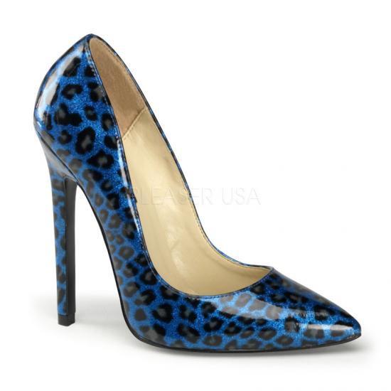 取寄せ靴 新品 ポインテッドトゥ 人気のアニマル柄 ハイヒールパンプス 12.5cmピンヒール 青ブルーヒョウ柄 DEVIOUSデビアス 大きいサイズ…