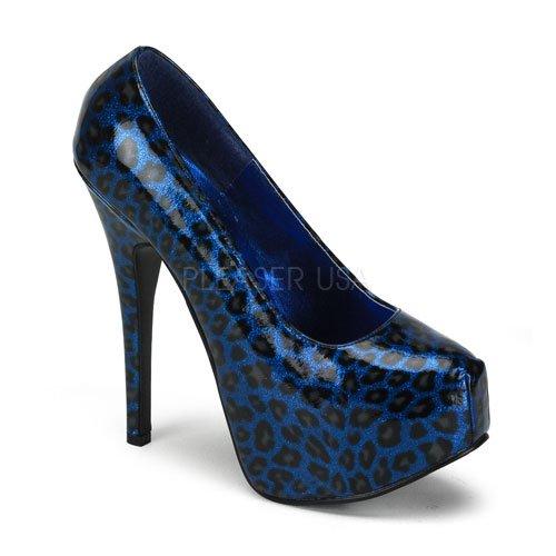 取寄せ靴 新品 きらきらラメ風 人気のアニマル柄 綺麗なフォルム 厚底パンプス 14.5cmピンヒール 青ブルーグリッターヒョウ柄 BORDELLOボルデロ 大きいサイズ…